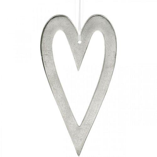 Decorative heart for hanging silver aluminum wedding decoration 22 × 12cm