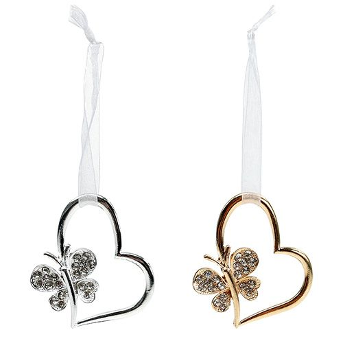 Heart for hanging with butterfly 7cm silver, gold 2pcs