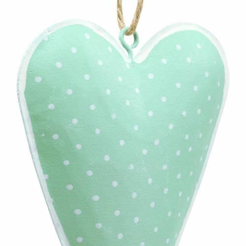 Heart Hanging decoration Metal Green, white dots H11cm 6pcs