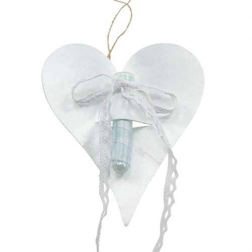 Heart Hanger with Orchid Tube White 16cm 6pcs