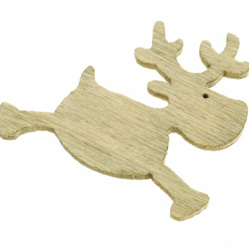 Decoration to control deer wooden, white, brown, nature 4cm 72pcs