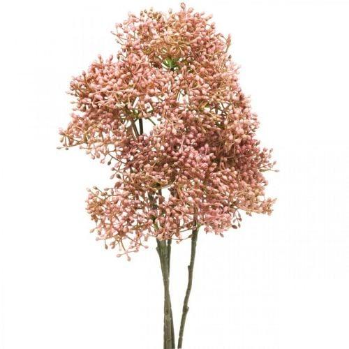 Elder artificial pink blossom branch 52cm 4pcs