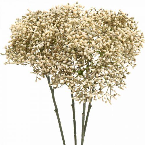 Artificial elderberry cream white decorative blossom branch 52cm 4pcs
