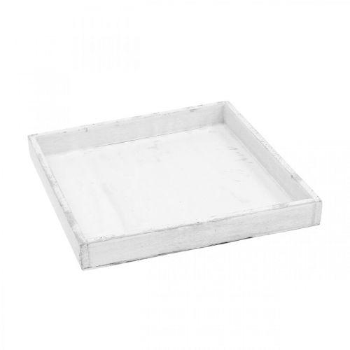 Decorative tray white angular wooden tray Shabby Chic 24.5 × 24.5cm