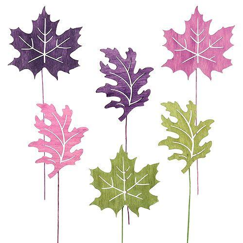 Wood leaf mix as plug 8cm L30cm Erika, green 12pcs