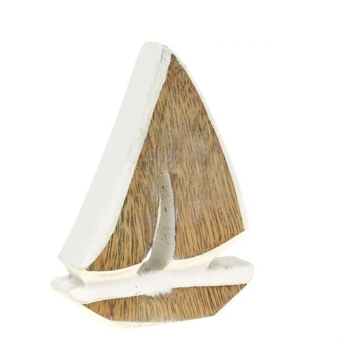 Deco boat made of mango wood nature, white 10.5cm x 8.5cm