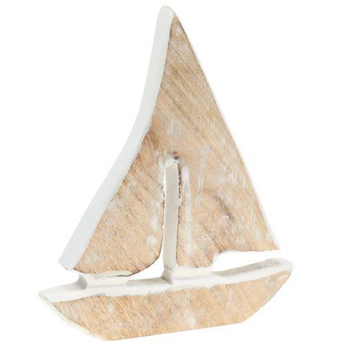 Deco boat made of mango wood nature, white 21cm x 18cm