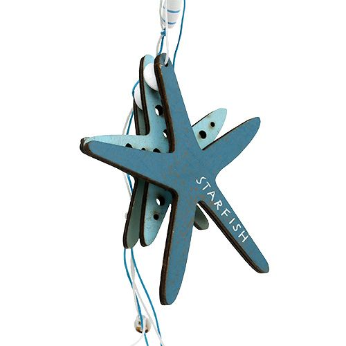 Wooden hanger starfish blue 36cm 4pcs