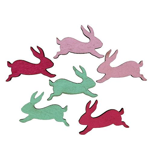 Decorative scatter Bunnies Wood Assorted 5cm 24pcs