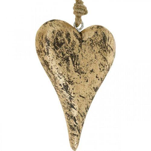 Heart to hang wood golden vintage hanger 15cm