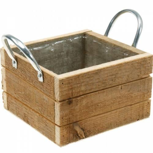 Plant box wood box with handles natural 16.5 × 16.5cm