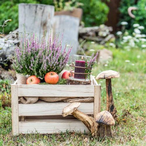 Wooden box natural brown 43.5cm / 37.7cm / 31.8cm set of 3