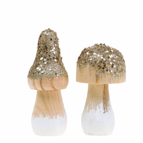 Wooden mushroom with glitter H8 / 10cm 4pcs