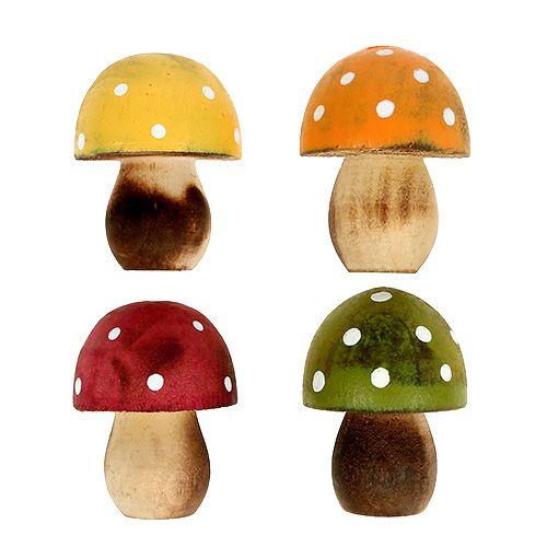 Wooden mushrooms sprinkle decoration 3cm assorted 24pcs
