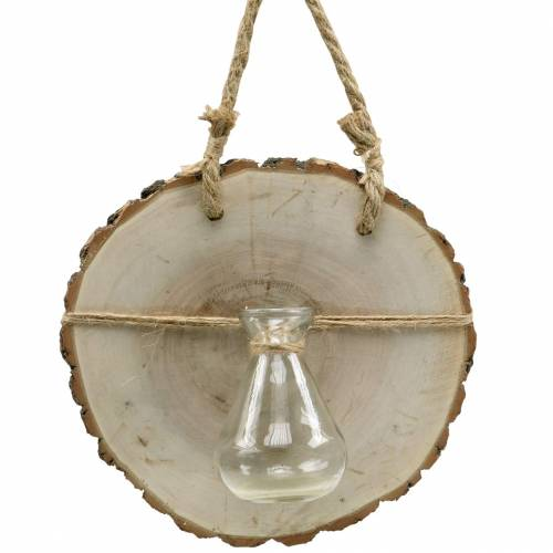 Wooden Disc with Glass Vase Ø22cm Hanging décor