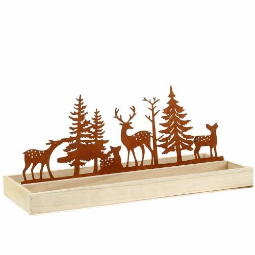 Wooden tray forest with animals 35cm x 15cm