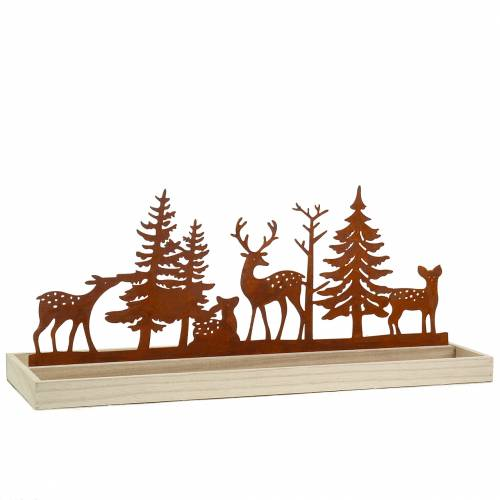 Wooden tray forest with animals 50cm x 17cm