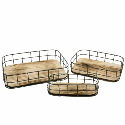 Wooden tray with metal edge 45cm 35 × 25/29 × 19/42 × 14cm set of 3