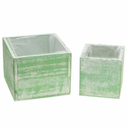 Planter wood light green white washed 10 × 10cm / 14 × 14cm set of 2