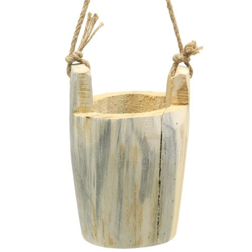 Wooden pot for hanging nature 2pcs