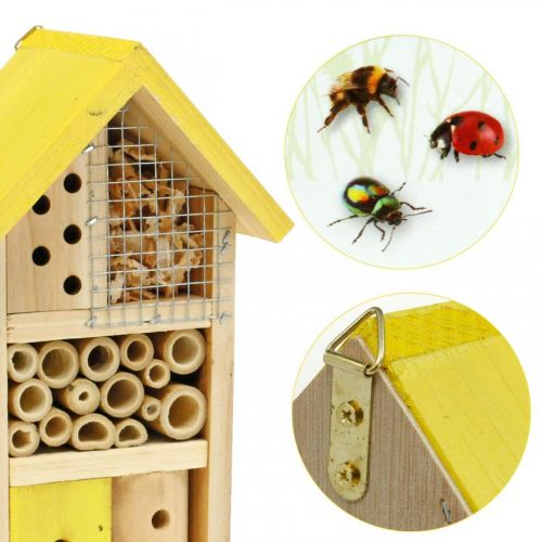 Insect hotel yellow wood insect house garden nesting box H26cm