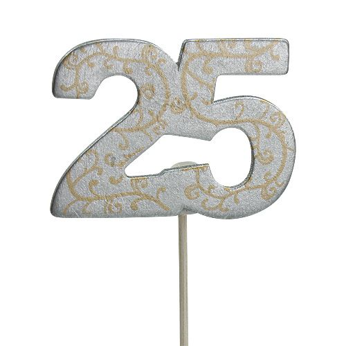 """Anniversary number """"25"""" made of wood silver 36pcs"""
