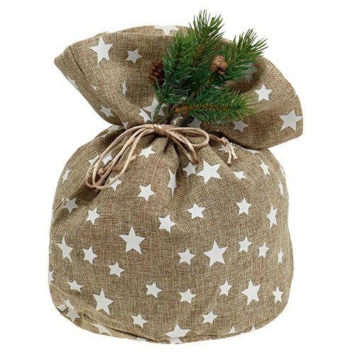 Burlap sack with stars 23cm x 23cm H35cm nature