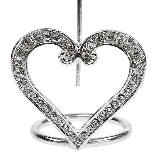 Card holder heart for table decoration 4cm silver 6pcs