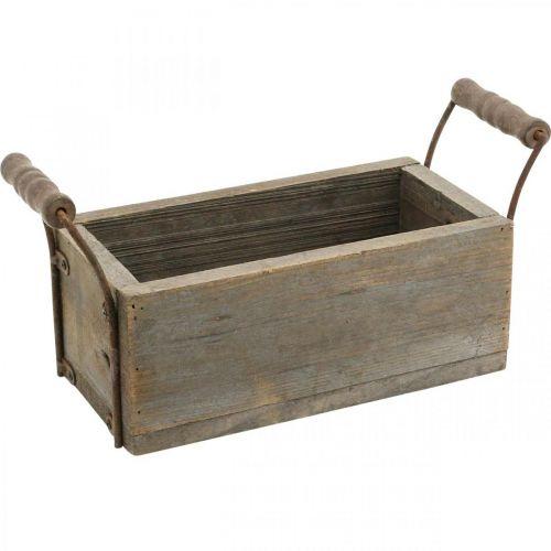 Planter, decorative box, wooden box with handles, Shabby Chic craft box L25cm H10cm