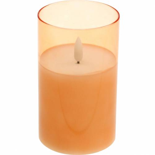 LED candle in glass real wax orange Ø7.5cm H12.5cm