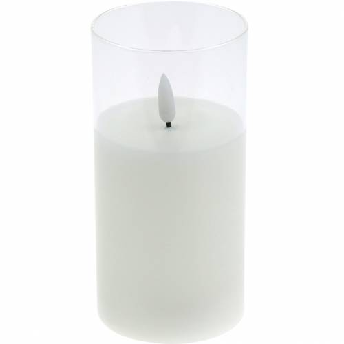 LED candle in glass real wax white Ø7.5cm H10cm