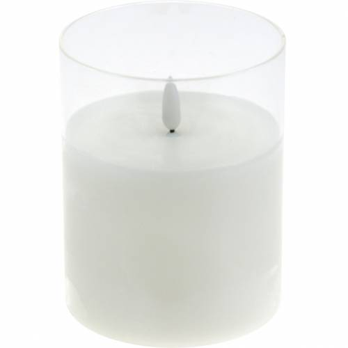 Candle decoration LED candle in glass real wax white Ø10cm H13cm