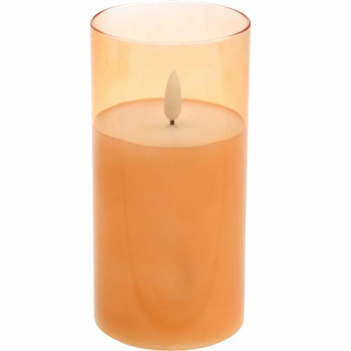LED candle in glass real wax orange Ø7.5cm H10cm