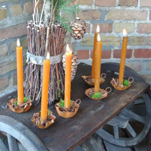 Candle holder vintage for taper candles metal rust look 9cm 6pcs