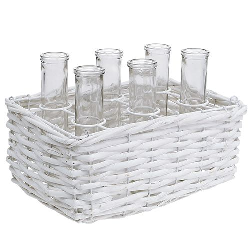 Basket square white with 6 test tubes 16cm x 17.5cm