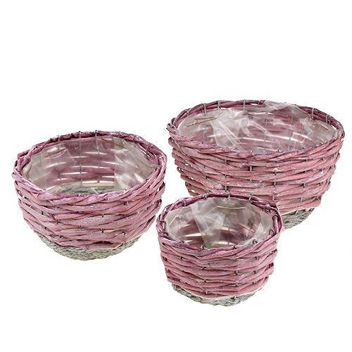 Basket round set of 3 Ø14cm - 24cm pink, nature