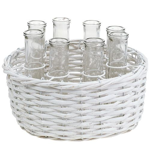 Basket round white Ø27cm with 8 test tubes