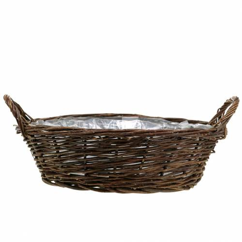 Large basket with handles planter willow brown Ø40cm H13cm