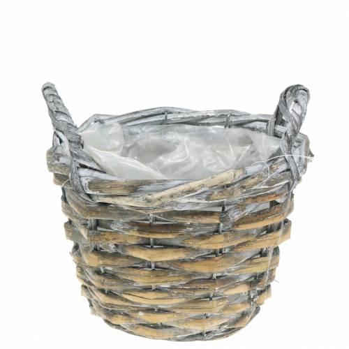 Braided basket gray white Ø17cm high 12cm with handles