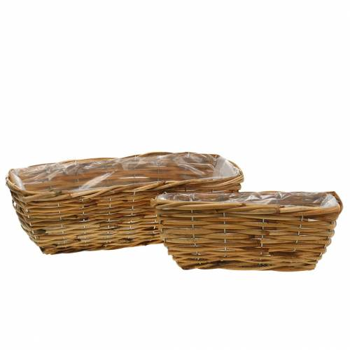 Basket box made of willow, peeled, natural colored flower box, set of 2