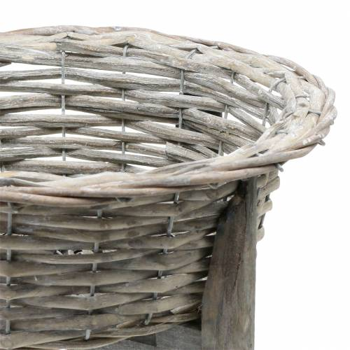 Basket bowl with wooden stand gray, white washed Ø33cm