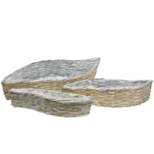 Basket for planting undulating nature, washed white 60 × 20 / 48.5 × 15/42 × 11cm, set of 3