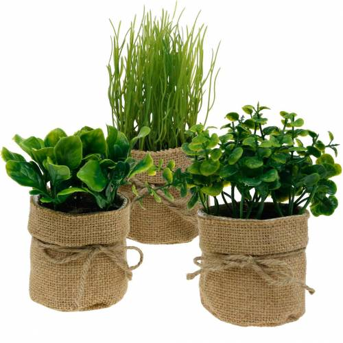 Herbs in a pot Artificial kitchen herbs Chives, basil and lettuce 3pcs