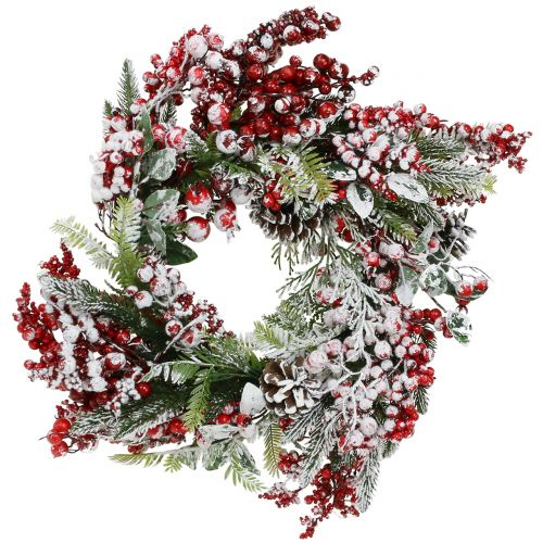 Wreath of green with red berries frosted 36cm