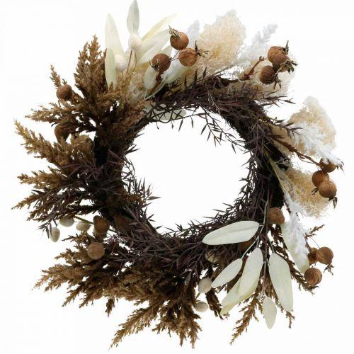 Decorative wreath artificial dry grass and fruits door wreath Ø50cm