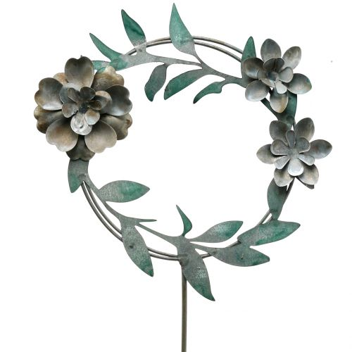 Garden pin flower wreath metal H63cm