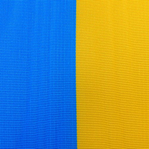 Wreath ribbons moiré blue-yellow