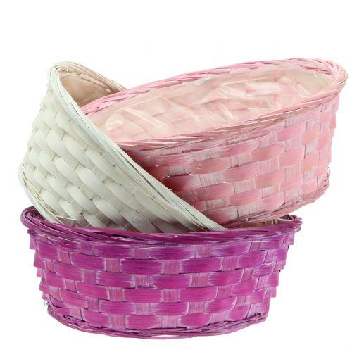 Woodchip basket round Purple / White / Pink Ø25cm 6pcs