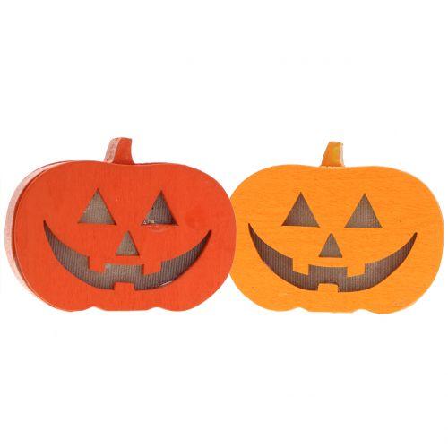 Pumpkin decoration with light 8,5cm 4pcs