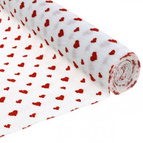 Crepe paper with hearts Florist's crepe Mothers Day red, white 50 × 250cm